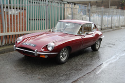 E-type parked at Liverpool's dockland