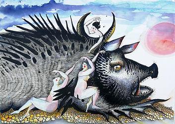 Cochon et nageoires. aqurelle 50x70 cm.j