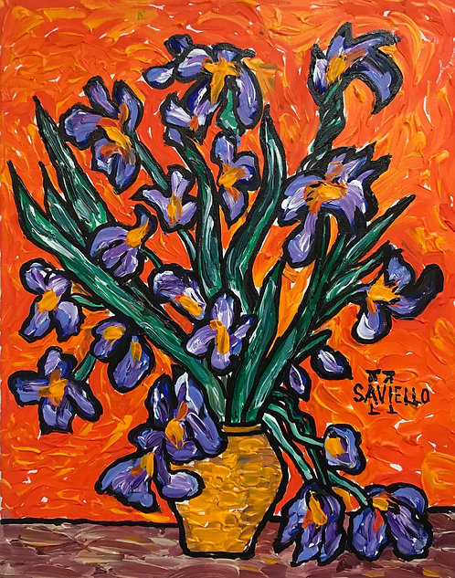 IRISES IN A YELLOW VASE