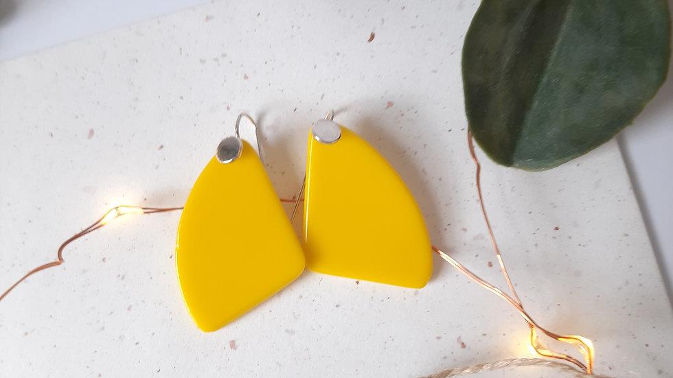 Opaque Yellow Dangle Drop Earrings