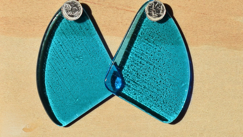 Aqua Glass and Textured Silver Dangle earrings