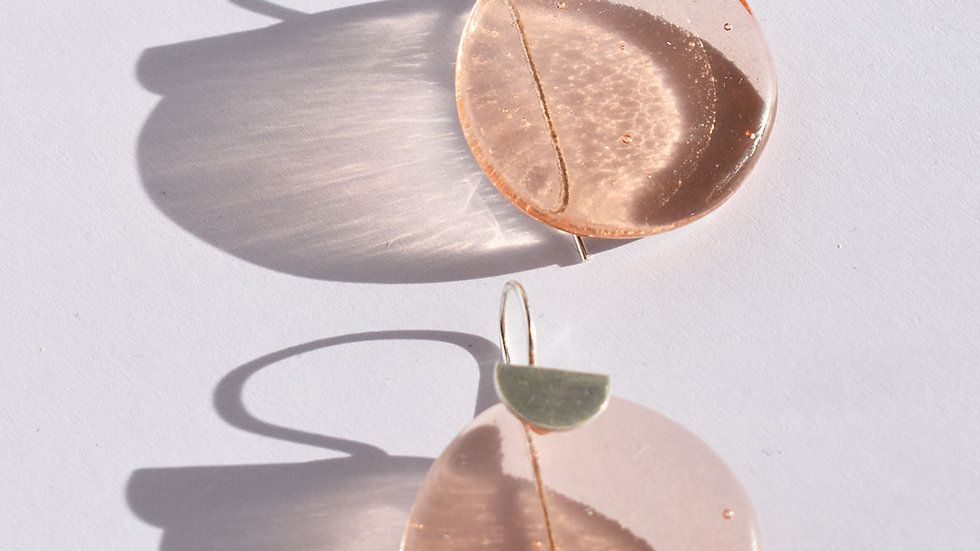 Coral Glass and Silver earring