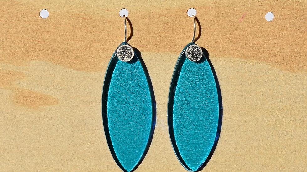 Aqua Glass and Textured Silver Lg Leaf earrings