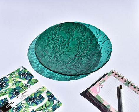 Teal Ripple Platter 30cm