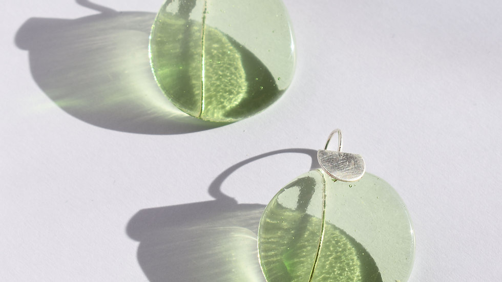 Light Green Glass and Silver earrings