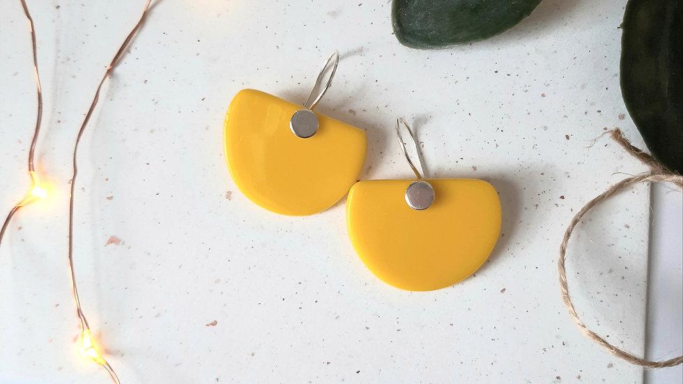Opaque Yellow Half circle Earrings