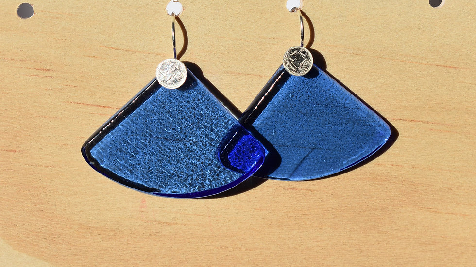 Sky Blue Glass and textured Silver Fan earrings