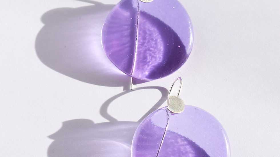Lilac Round silver glass earrings