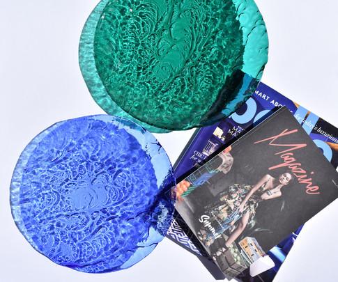 Sky blue 25cm Ripple platter and Teal 30cm Ripple Platter