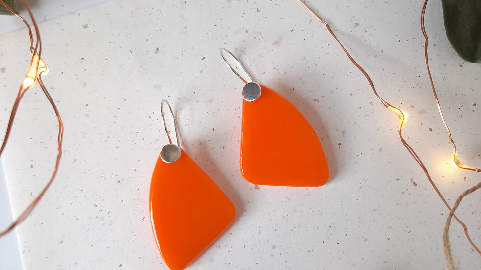 Opaque Orange Dangle Drop Earrings