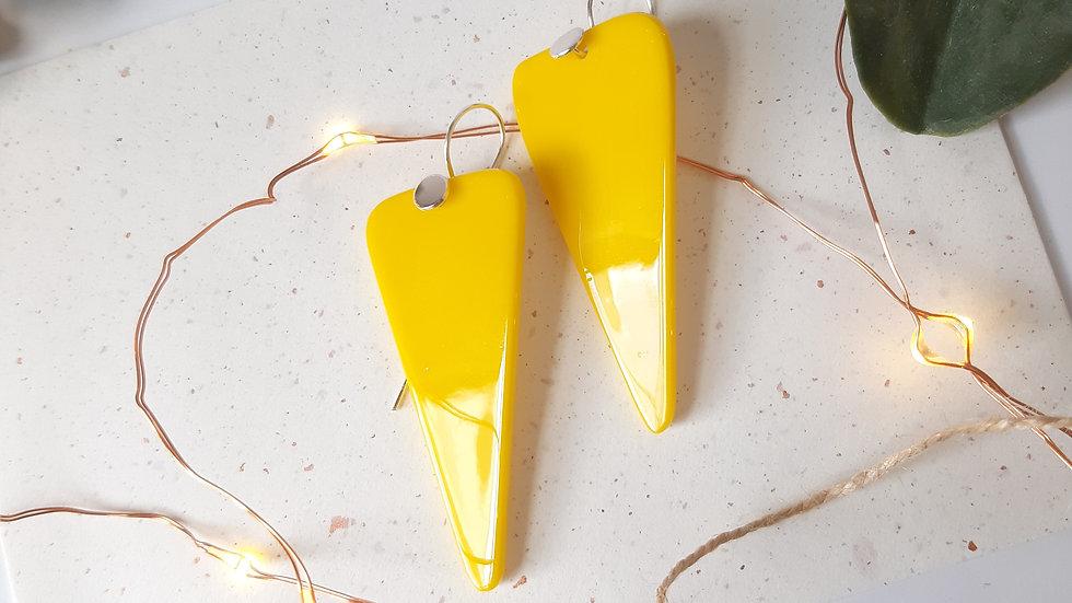 Opaque Yellow Lg Triangle Drop Earring
