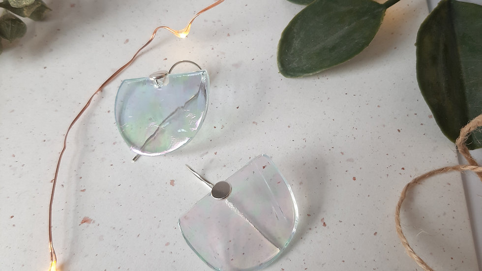 Iridescent Transparent Half Circle and Silver Earrings