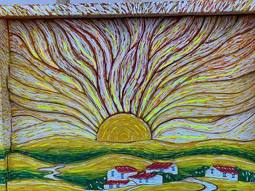 Borgo al tramonto 43,5x34 cm