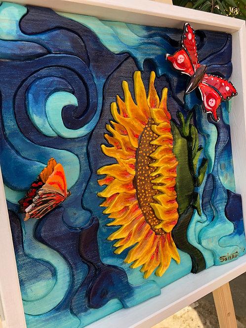 Girasole con farfalle 44x44 cm