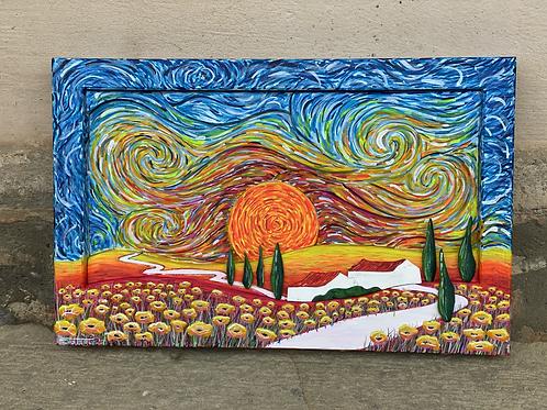 Papaveri al tramonto 50x32x4.5 cm