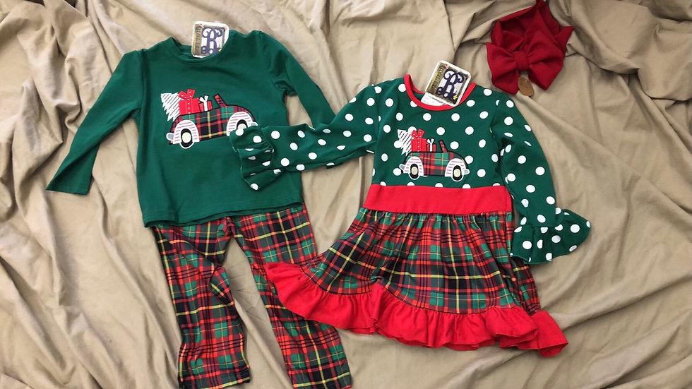 Christmas Plaid Dot dress