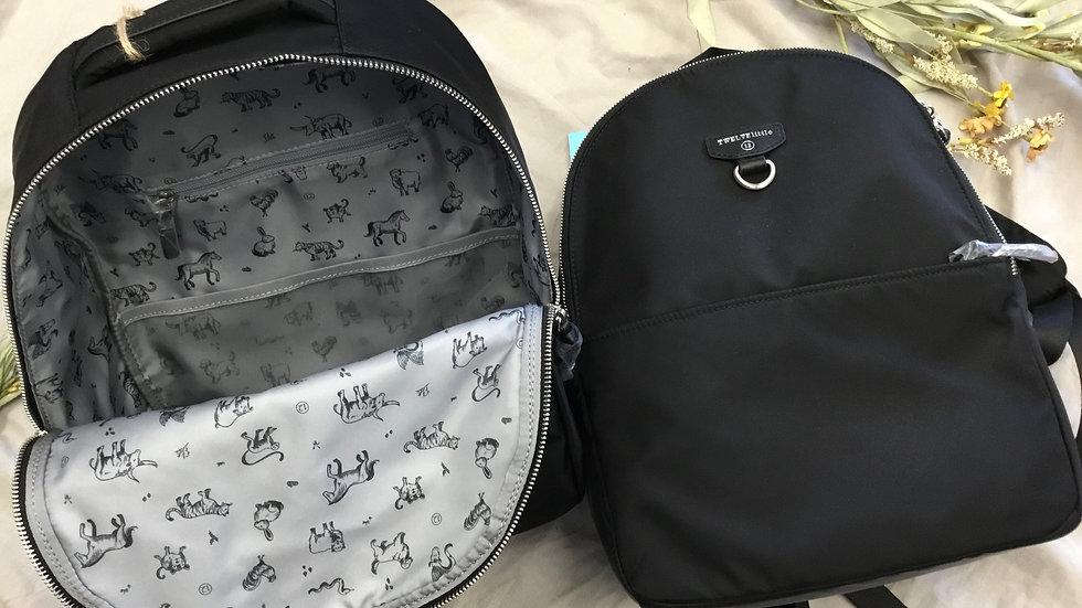 Solid Black Mini Diaper Bag/ Back Pack
