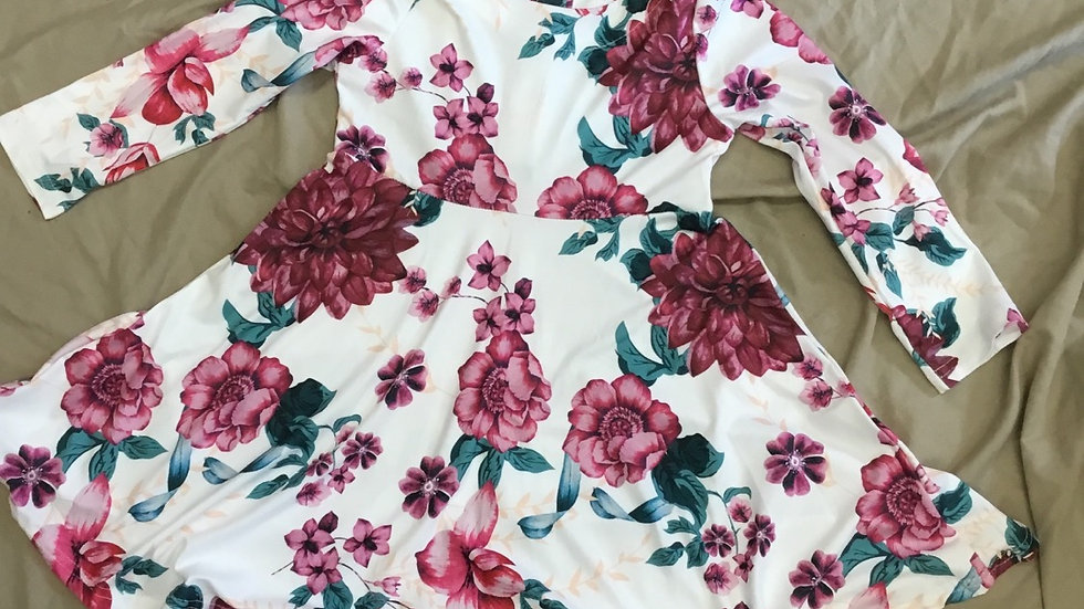 White & Burgundy Floral Print Dress
