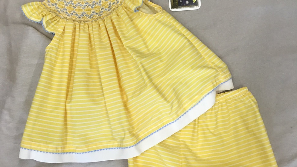 Smocked Yellow Stripe Bloomer Set
