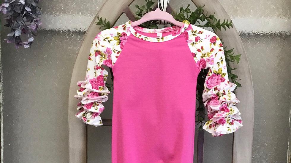 Newborn Pink Floral Sak Gown