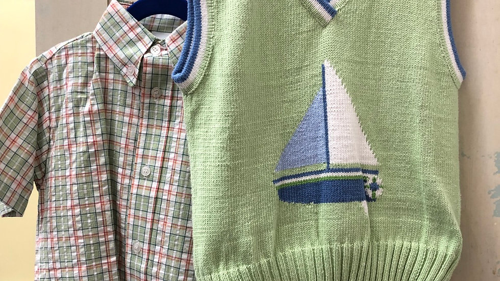 Boys Light Green Sailboat and Shirt Combo