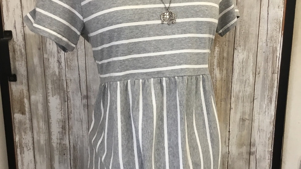 Gray Striped Ruffle Tee