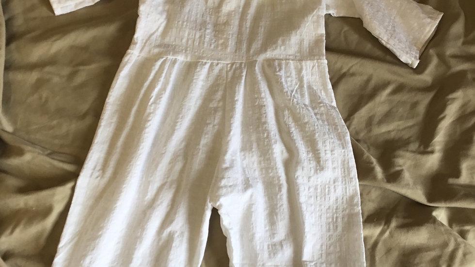 White Crinkle Linen Jumpsuit