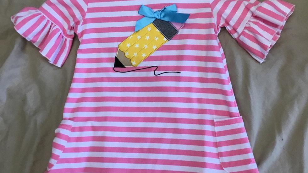 Pink Stripe Pencil Dress