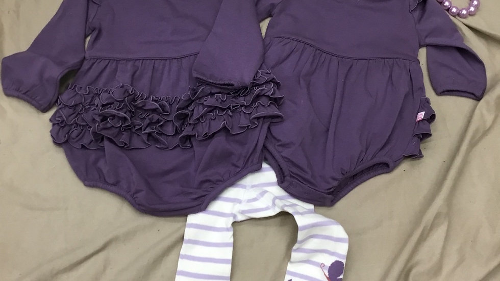 RuffleButts Shadow Purple Flutter Romper