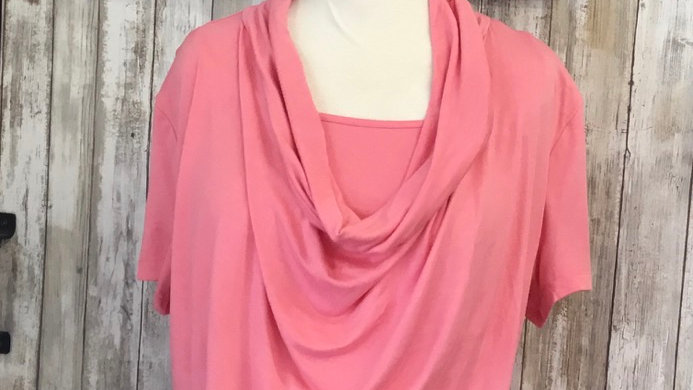 Coral Drape Neck Maternity Top With Nursing Panel