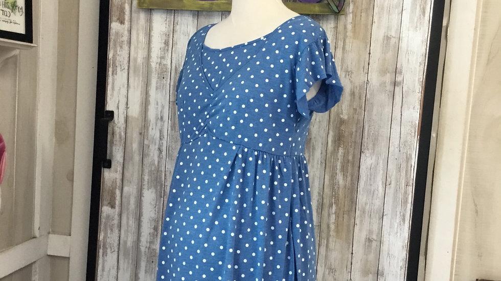 Blue Polka Dot Maternity/ Nursing Dress