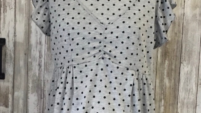 Gray Polka Dot Maternity/ Nursing Dress