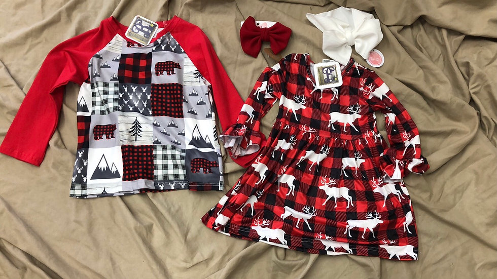 Reindeer Plaid Dress