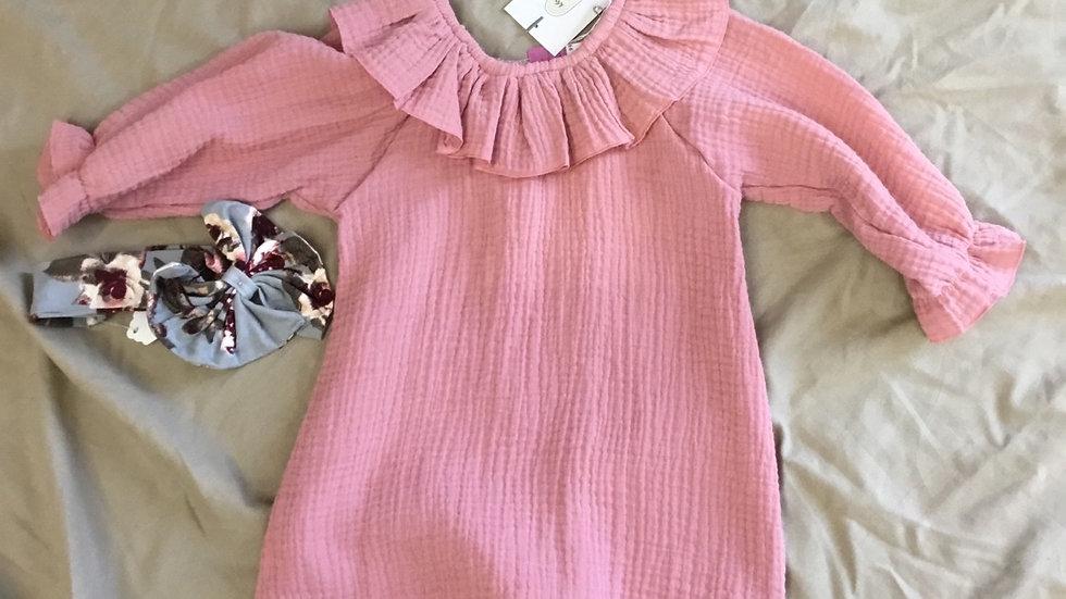 Pink Crinkle Linen Shirt