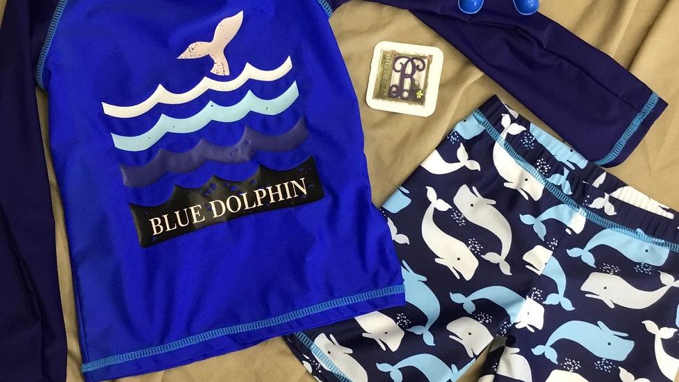 Boys Blue Dolphin Swim Set