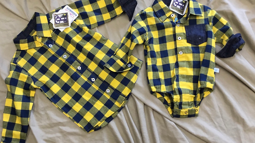 Navy and Mustard Plaid Ruffle Butts