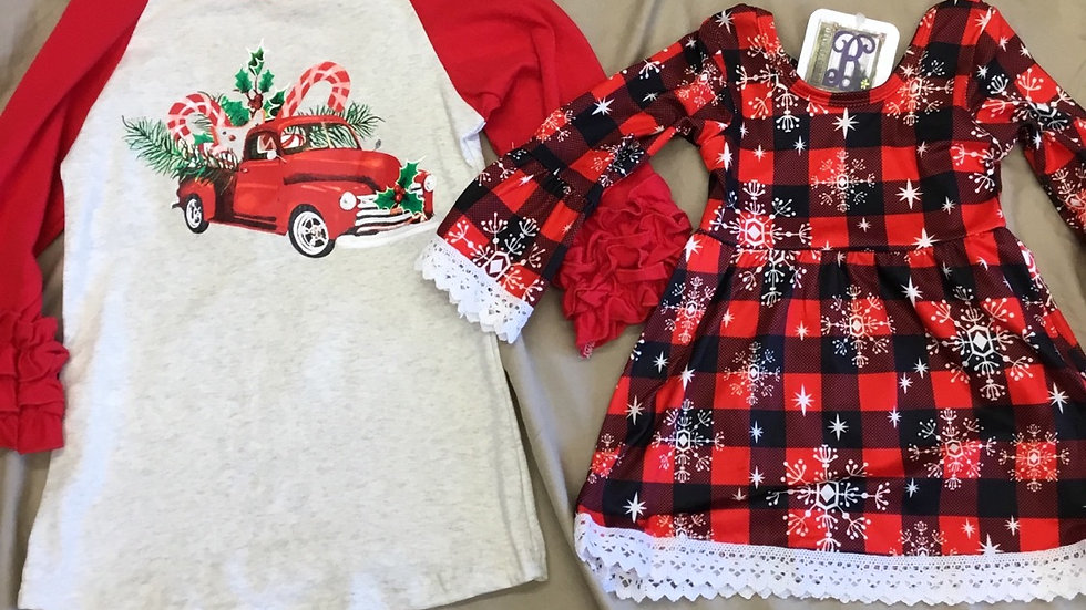 Christmas Truck and Candy Cane Raglan