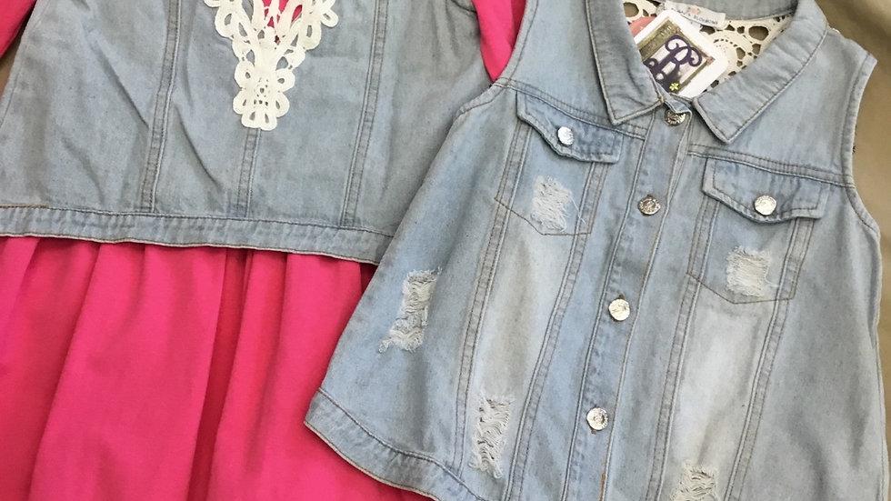 Distressed Lace Back Jean Vest