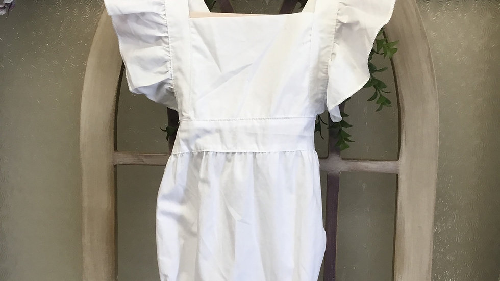 White Ruffle Cross Back Bubble