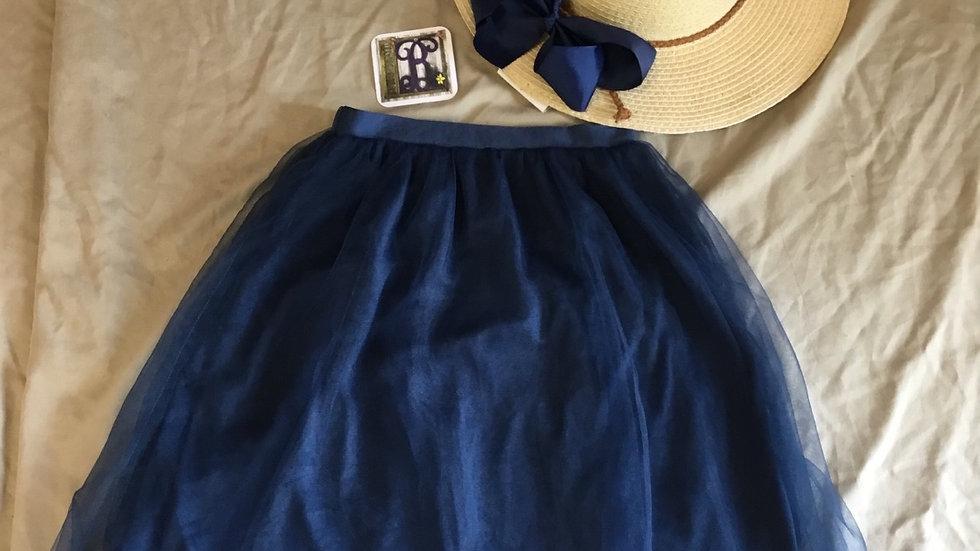 Tulle Overlay Navy Skirt