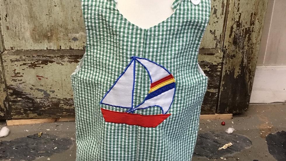Toddler Boys Sailboat Appliqué  Shortall