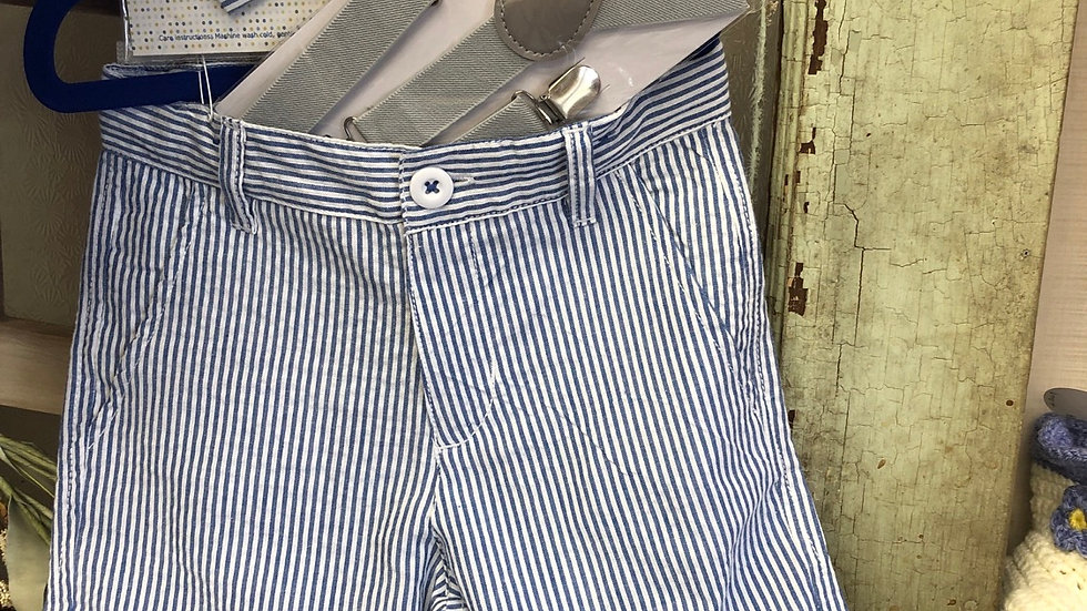 Boys seersucker chambray and white striped shorts (accessories sold separate)