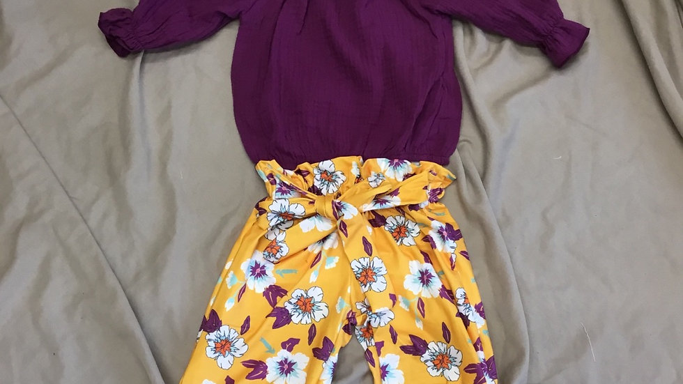 Maroon and  Mustard Floral Set