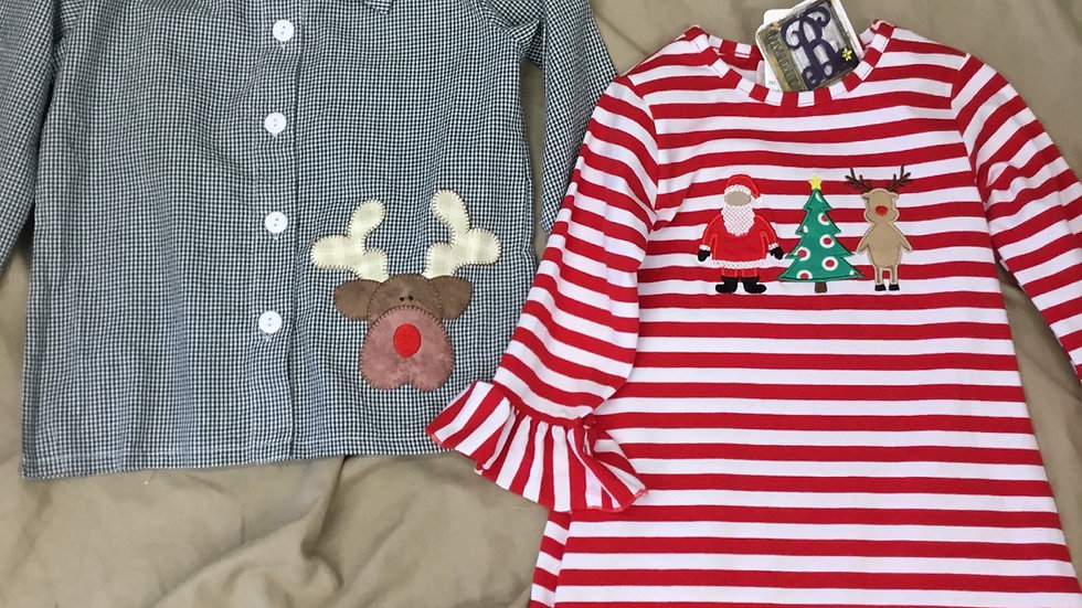 Boys Reindeer Appliqué Long Sleeve Shirt
