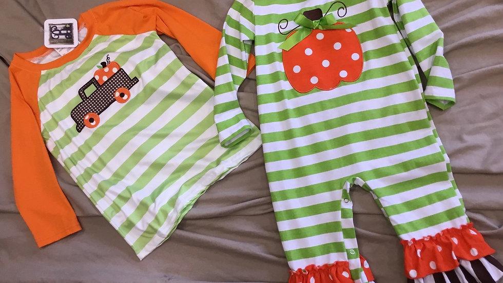Green Stripe Pumpkin Appliquéd Long Johns