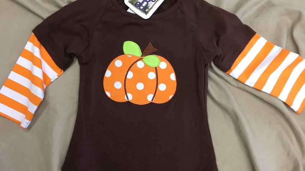 Brown Pumpkin w Orange Stripes Tee