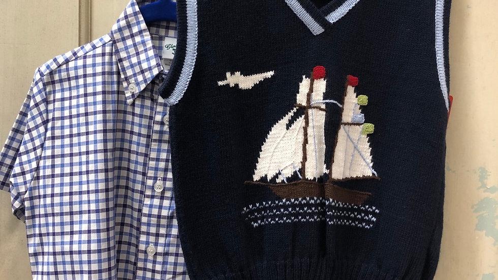 Boys Navy Sailboat Vest with Plaid Shirt Combo