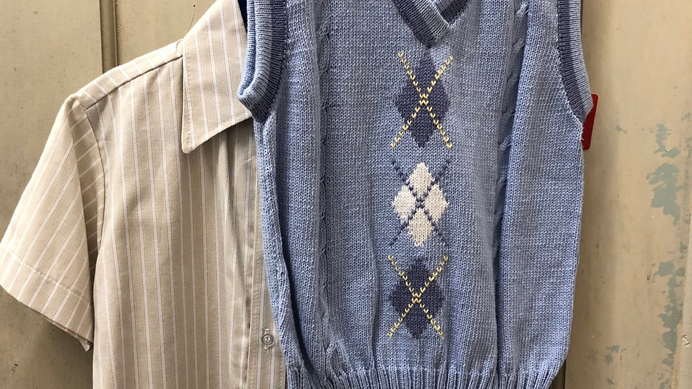 Boys Classic Blue Argyle Vest