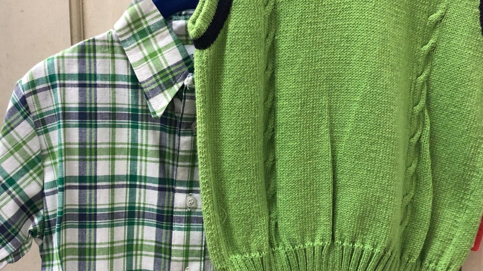 Boys Lime Green and Navy Vest with Plaid Shirt Combo