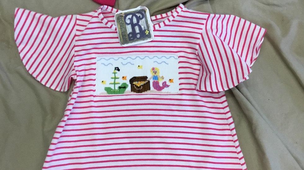 Mermaid Striped Smocked Shirt